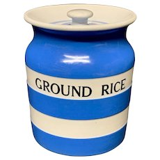 Cornishware Banded Kitchen Ware Storage Jar ~ GROUND RICE ~ c 1930 - 1940