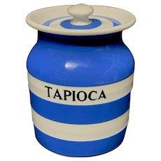 Cornishware Banded Kitchen Ware Storage Jar ~ TAPIOCA ~ c 1930 - 1940