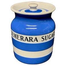Cornishware Banded Kitchen Ware Storage Jar ~ DEMERARA SUGAR ~ c 1930 - 1940
