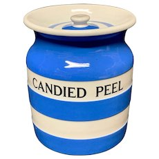 Cornishware Banded Kitchen Ware Storage Jar ~ CANDIED PEEL ~ c 1930 - 1940
