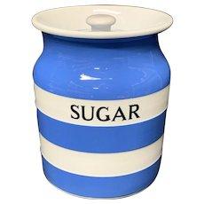 Cornishware Banded Kitchen Ware Storage Jar ~ SUGAR ~ c 1930 - 1940