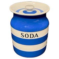 Cornishware Banded Kitchen Ware Storage Jar ~ SODA ~ c 1930 - 1940