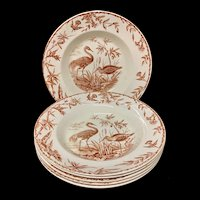 Exotic Birds INDUS Soup Plates x 6 ~ 1885