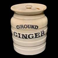 Early Edwardian White Banded Kitchen Storage Jar ~ Ground Ginger ~ c 1920