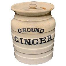 Early Edwardian White Banded Kitchen Storage Jar ~ Ground Ginger ~ c 1920