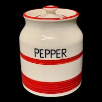 Cornishware Banded Kleen Kitchen Storage Jar ~ PEPPER ~ c 1940