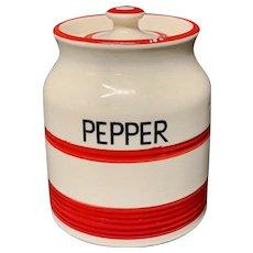 Cornishware Banded Kleen Kitchen Storage Jar ~ PEPPER ~ c 1940