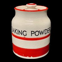 Cornishware Banded Kleen Kitchen Storage Jar ~ BAKING POWDER ~ c 1940