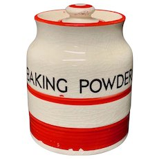 Cornishware Banded Kleen Kitchen Storage Jar ~ BAKING POWDER ~ c 1940