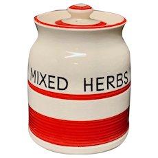 Cornishware Banded Kleen Kitchen Storage Jar ~ MIXED HERBS ~ c 1940