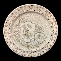 1885 ~ Brown Transferware Plate ~ DEVONSHIRE Staffordshire