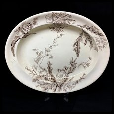 Aesthetic Dark Brown Transferware Platter ~ Seaweed 1883