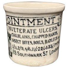 Early Version Quack Medicine ~ Chilblains Bad Legs Pot ~ 1880