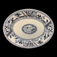 Antique Blue Transferware Platter ~ Congo 1883