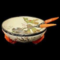 Wedgwood Anniversary LOBSTER Bowl Sterling Silver Tongs~ SEAWEED 1883