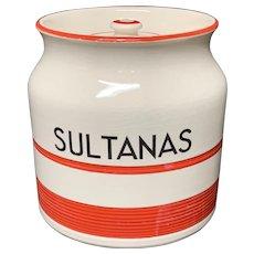 Cornishware Banded Kleen Kitchen Ware Storage Jar ~ SULTANAS ~ c 1940
