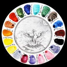 Artist Color Sample Plate Tile Hand Painted Palette Salesman Sample Trial Staffordshire England