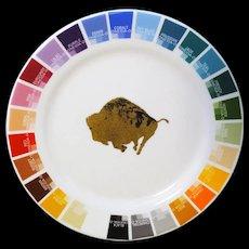 Vintage Artist Paint Color Salesman Sample Plate Oneida Buffalo Pottery c1960
