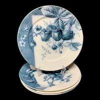 4 Mulberry Blue Transferware Botanical Fruit Plates  ~ 1884