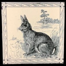 Black Transferware Tile Victorian Minton Hollins ~ Rabbit 1885