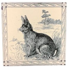 Black Transferware Tile Victorian Minton Hollins ~ Rabbit 1885