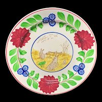 Stick Spatter Rabbitware Ironstone Plate ~ Adams Rose c1900
