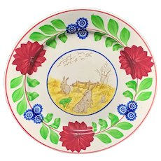 Stick Spatter Rabbitware Ironstone Plate ~ Adams Rose c1900