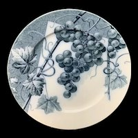 Mulberry Blue Transferware Botanical Fruit Plate  ~ 1884 ~ Grapes