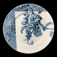 Mulberry Blue Transferware Botanical Fruit Plate  ~ 1884 ~ Gooseberries