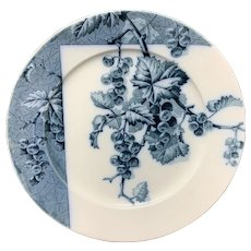 Mulberry Blue Transferware Botanical Fruit Plate  ~ 1884 ~ Gooseberries