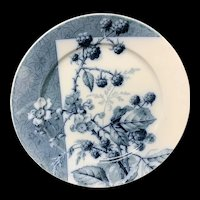 Mulberry Blue Transferware Botanical Fruit Plate  ~ 1884 ~ Raspberries