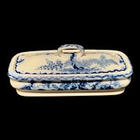 English Flow Blue Transferware Razor Box ~ OAK ~ 1860