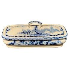 English Flow Blue Transferware Razor Box ~ OAK ~ 1860
