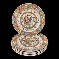 6 Antique Aesthetic Brown Transferware Plates ~ SUNFLOWERS 1883