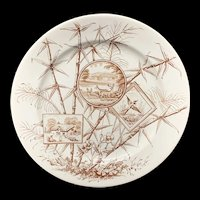 Brown Transferware Chatsworth Plate ~ DEER in NATURE 1885