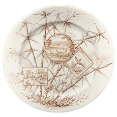 Brown Transferware Chatsworth Plate ~ DEER in NATURE 1885