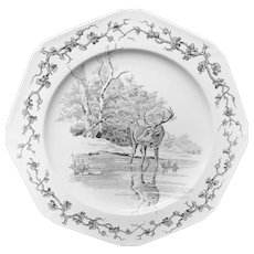 Rare Gray Black Earthenware Fables Plate ~  Stag & Reflection Plate 1880