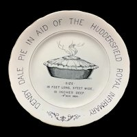 English Ironstone Commemorative Advert Plate Denby Dale PIE 1928