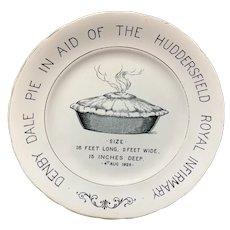 English Ironstone Commemorative Advert Plate Denby Dale PIE 1928
