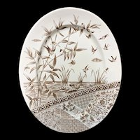 Superb Brown Transferware Platter ~ BURMAH ~ Staffordshire 1883