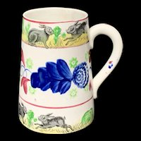 Stick Spatter Rabbitware Ironstone Tankard Mug ~ Virginia Rose 1900