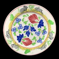 Stick Spatter Rabbitware Ironstone Plate ~ Virginia Rose 1900