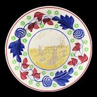 Spongeware Rabbitware Ironstone Plate ~ Bulls Eye 1900