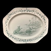 Rare Gray Black Earthenware Aesops Fables Platter ~  Deer & Fox 1880