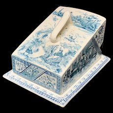 Antique English Blue Staffordshire Cheese Keep ~ MILKMAIDS 1889