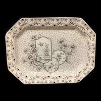 Staffordshire Victorian Transferware Platter ~ Devonshire ~ 1884