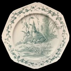 Rabbit and Frogs Rare Earthenware Gray Black Fables Plate ~ 1880