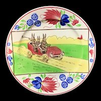 Stick Spatter Spongeware Rabbitware Rabbit Plate ~ Jalopy Car c 1900