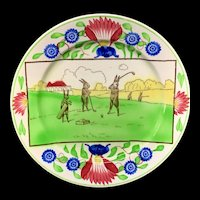 Stick Spatter Spongeware Rabbitware Rabbit Plate ~ GOLF c 1900