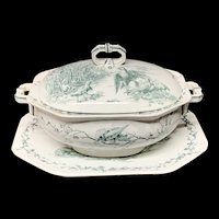 Large Black Transferware Aesops Fables Soup Tureen and Platter ~ 1880